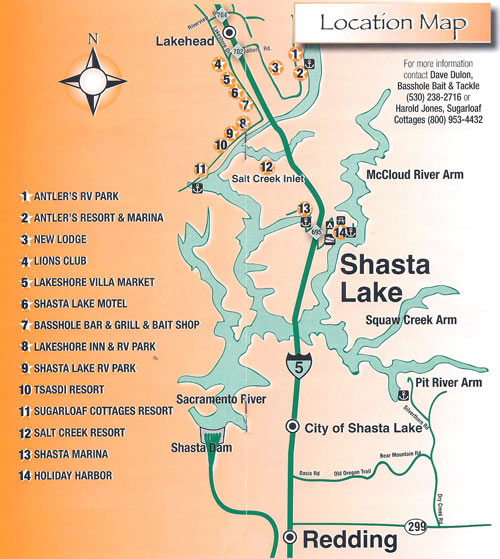 lake shasta fishing map Lakehead Trout Derby Location Map Shasta Lake California lake shasta fishing map